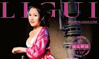[LIGUI丽柜] 文静 - 粉色丝绸睡衣+内衣+肉丝美足 套图