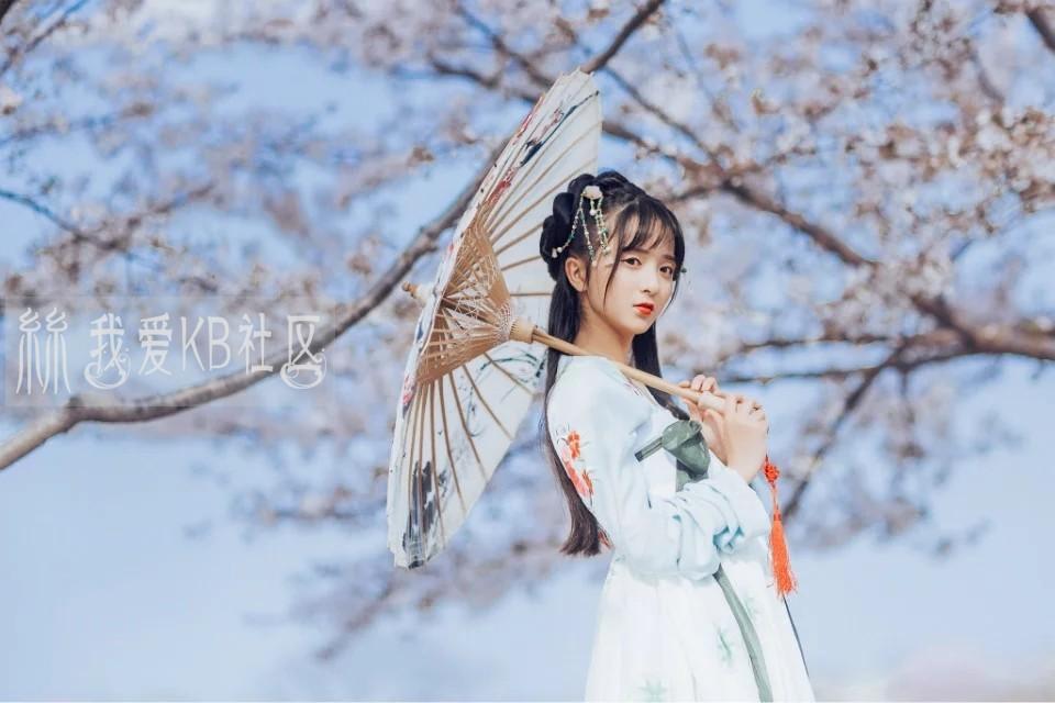 樱花树下的汉服襦裙美女图片