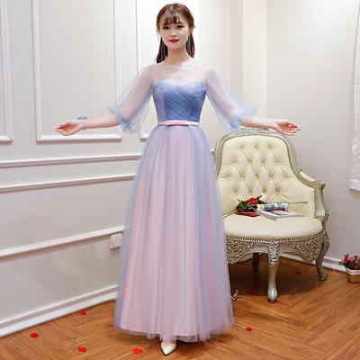 52kb 伴娘服长款2018新款韩版秋季粉色伴娘礼服伴娘团姐妹裙宴会晚礼服 Z  丝绸物品爱好者 205425e9j89zo73f7od737
