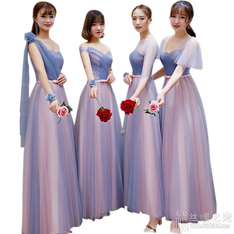 52kb 伴娘服长款2018新款韩版秋季粉色伴娘礼服伴娘团姐妹裙宴会晚礼服 Z  丝绸物品爱好者 205426gt8x7b2lfz9ktlhx