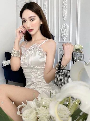 52kb 珍珠白蕾丝丝绸小礼服   丝绸物品爱好者