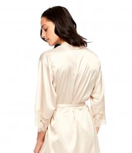 蕾丝装饰缎面睡袍