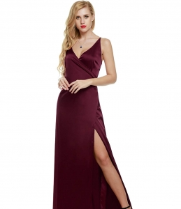 ANGVNS Women's Spaghetti Straps Crossover V Neck Split Side Evening Dress 2