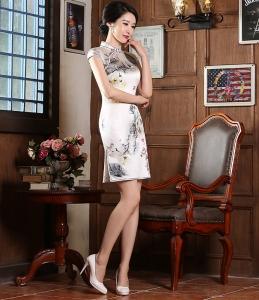 新款苏州时尚修身改良日常真丝旗袍 礼仪宴会立领短款真丝旗袍