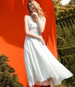 女巫欧美时尚V领真丝桑蚕丝无袖性感白色雪纺修身连衣裙大摆长裙