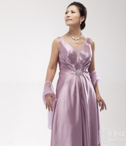 紫粉绸缎妈妈长礼服