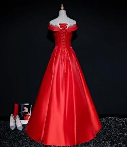 晚礼服 2018新款宴会长款女欧美红色晚礼服 新娘结婚敬酒服