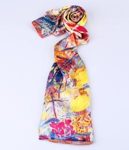 定制丝巾100%桑蚕丝喷印长巾16姆米素绉缎手工卷边真丝围巾工厂
