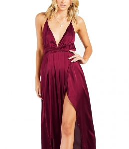 Yimeili Women's Sexy Deep V Neck Backless Split Maxi Cocktail Long Party Dres 2