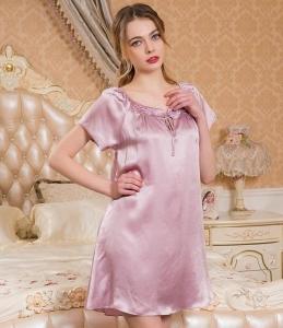 真丝睡衣 女100%桑蚕丝睡裙17年新款 性感吊带蕾丝睡裙家居服