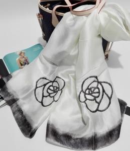 速卖通爆款白色穆斯林hijab丝巾 女仿真丝花朵印花丝巾