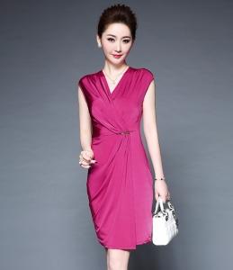 速卖通欧美夏季新款纯色金属扣装饰修身显瘦短袖连衣裙 批发代理
