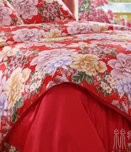 时尚优质印花真丝四件套花好月圆无缝素绉缎床