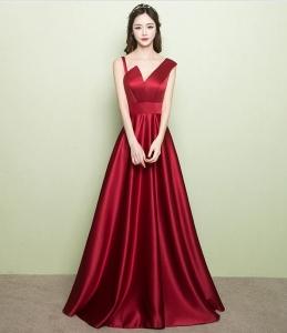 晚礼服女2017新款 敬酒服修身显瘦缎面酒红色结婚礼服主持连衣裙
