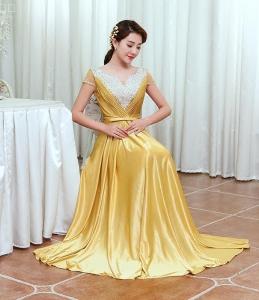 2018新款新娘修身敬酒服 晚宴V领钉珠长款礼服女 主持人晚礼服