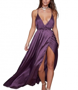 Sexy Deep V Neck Backless Split Maxi Cocktail Long Party Dresses 4