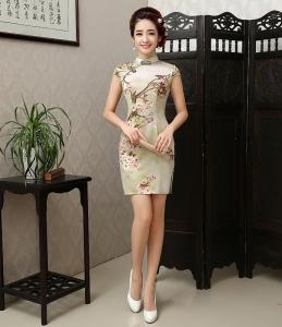 美圣菲 2016新款中式仿真丝日常旗袍 改良时尚中国风短款旗袍裙女
