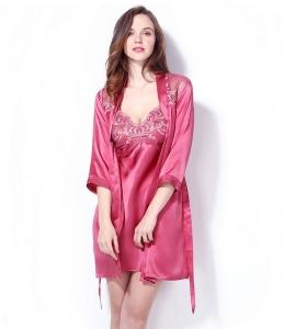 真丝吊带睡裙长袖睡衣两件套家居服桑蚕丝性感刺绣女士睡袍