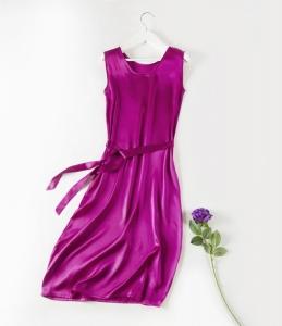 19姆米夏季丝绸缎面无袖背心裙纯色真丝连衣裙中长款女裙夏打底裙