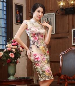 美圣菲 新款时尚复古改良淑女真丝旗袍 中式日常修身短款真丝旗袍
