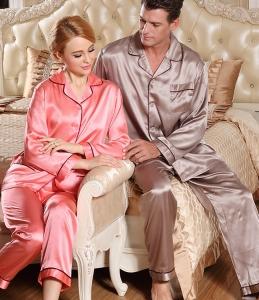 真丝情侣睡衣男女款开衫前扣桑蚕丝绸裤子长袖套装
