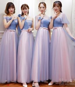 伴娘服长款2018新款韩版秋季粉色伴娘礼服伴娘团姐妹裙宴会晚礼服