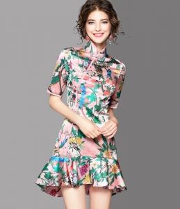 2017夏季新款时尚立领印花旗袍短款鱼尾裙短袖修身连衣裙73103