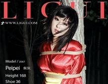 Ligui丽柜  束缚捆绑美女 佩佩 红色丝绸和服加肉色丝袜美腿姓感私房写真集