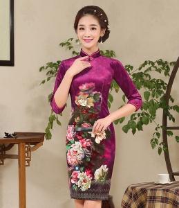 2017新款时尚修身气质丝绒旗袍 改良日常复古中式短款丝绒旗袍