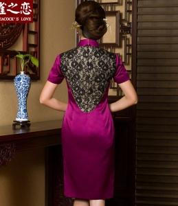 雀之恋 晚宴婚庆妈妈旗袍礼服 改良时尚蕾丝拼接真丝复古绣花旗袍