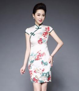 2017夏装新款高端女装缎面枫叶印花修身显瘦短袖旗袍款连衣裙