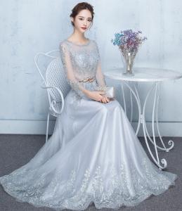 2017新款 高贵优雅晚礼服长款主持宴会 礼服年会敬酒礼服女银灰色