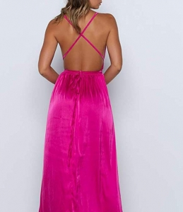 Sexy Deep V Neck Backless Split Maxi Cocktail Long Party Dresses 5