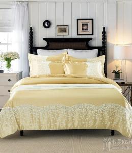 夏季仿真丝顺滑纯色蚕丝绸缎凉爽丝床上用品蕾丝四件套
